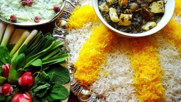 خورش ریواس گوشت پیاز شکر نعناع تازه جعفری البرز