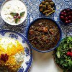 خورش قرمه سبزی برنج گوشت بی استخوان سبزی لوبیا قرمز لیمو عمانی پیاز تهران