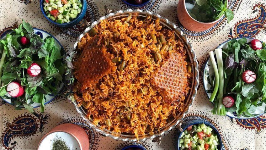 لوبیا پلو برنج لوبیا سبز گوشت ران گوسفند پیاز رب گوجه فرنگی روغن آب زردچوبه زعفران تهران