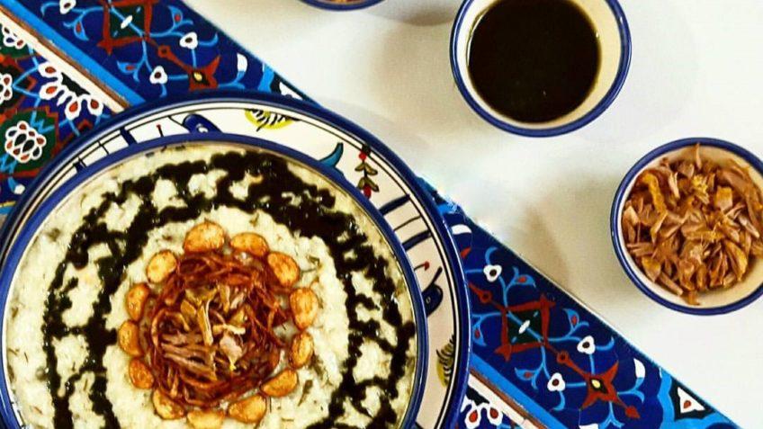 آش دوغ دوغ محلی برنج پونه خشک پیاز زردچوبه ایلام