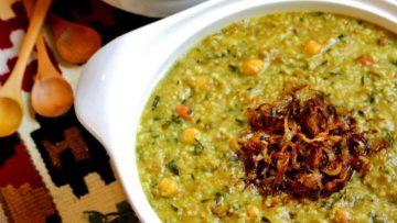 آش سبزی غذالند گوشت گوسفند شیراز
