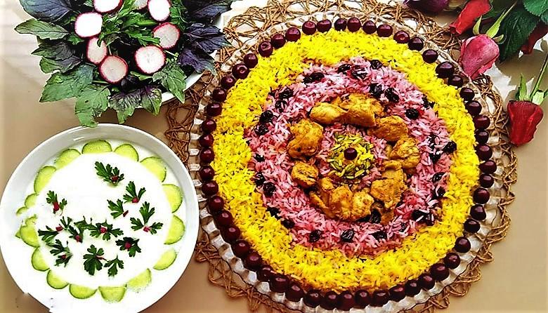 آلبالو پلو تهران غذالند سرزمین غذا