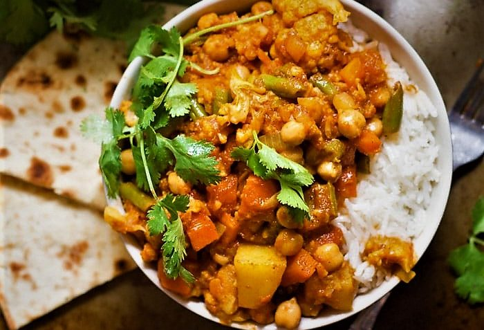 کاری سبزیجات پاییزی هندوستان غذالند سرزمین غذا