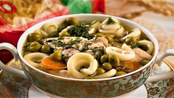 سوپ پاستا و نخود غذالند سرزمین غذا