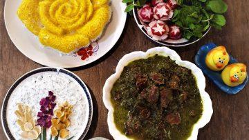 خورش آلو اسفناج ایران غذالند سرزمین غذا